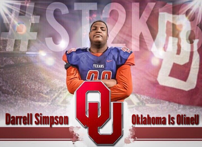 Four-star offensive lineman Darrell Simpson commits to Oklahoma.