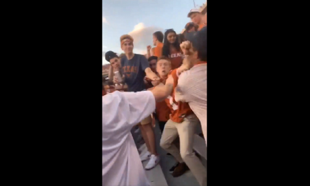 texas longhorns student section fight