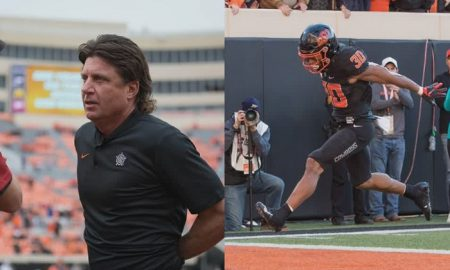 Mike Gundy and Chuba Hubbard