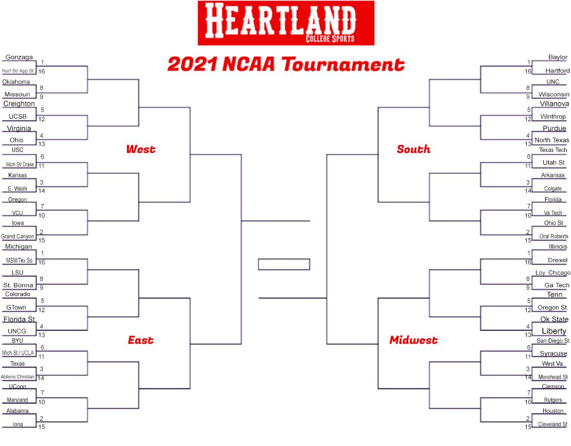 Click to print the 2021 NCAA Tournament Bracket.